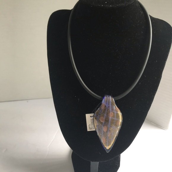 Manhattan Alley Murano BIG Glass Cord Necklace NEW